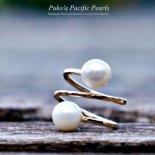 ホワイト ダブル パール リング ゴールド [ Pukoa Pacific Pearls / ハワイ ] [海外受注]