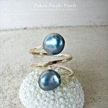 ブルー ダブル パール リング ゴールド [ Pukoa Pacific Pearls / ハワイ ] [海外受注]