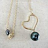 ブラック パール ハート ネックレス ゴールド [ Pukoa Pacific Pearls / ハワイ ] [海外受注]