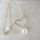 ホワイト パール ハート ネックレス ゴールド [ Pukoa Pacific Pearls / ハワイ ] [海外受注]