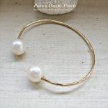 ダブル ホワイト パール バングル ゴールド / シルバー [ Pukoa Pacific Pearls / ハワイ ] [海外受注]