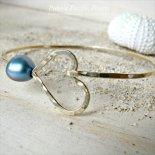 ブルー パール ハート バングル ゴールド [ Pukoa Pacific Pearls / ハワイ ] [海外受注]