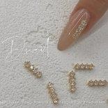 +D D.nail ジュエリーパーツ スティック ゴールド 5mm×12mm 2個 クリスタル