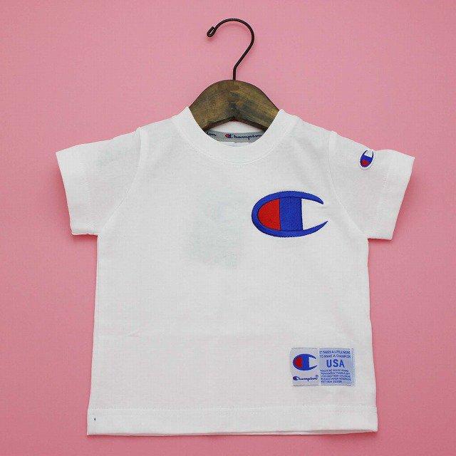 【Champion】 BIG-C マークTシャツ (ホワイト) 90-140cm