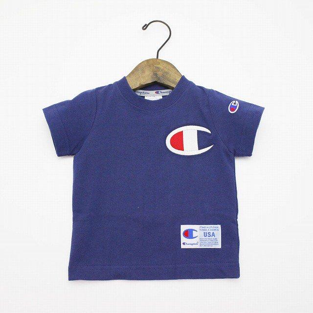 【Champion】 BIG-C マークTシャツ (ネイビー) 90-140cm