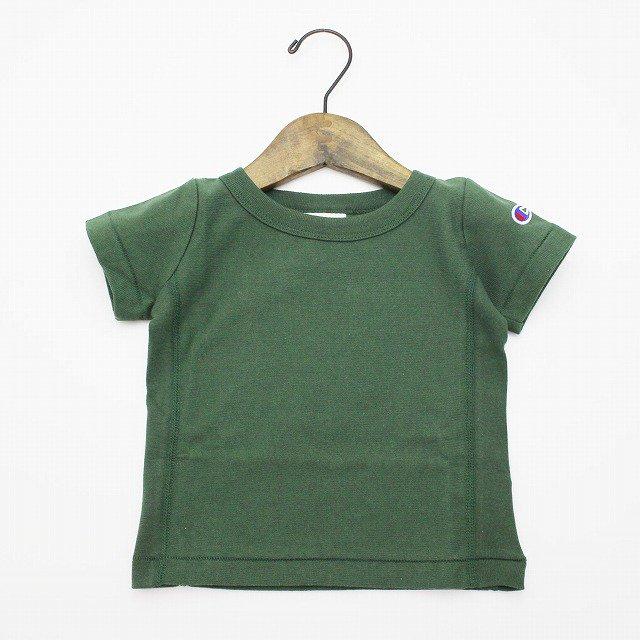 【Champion】 リバースウィーブワンポイントTシャツ (グリーン) 90-140cm