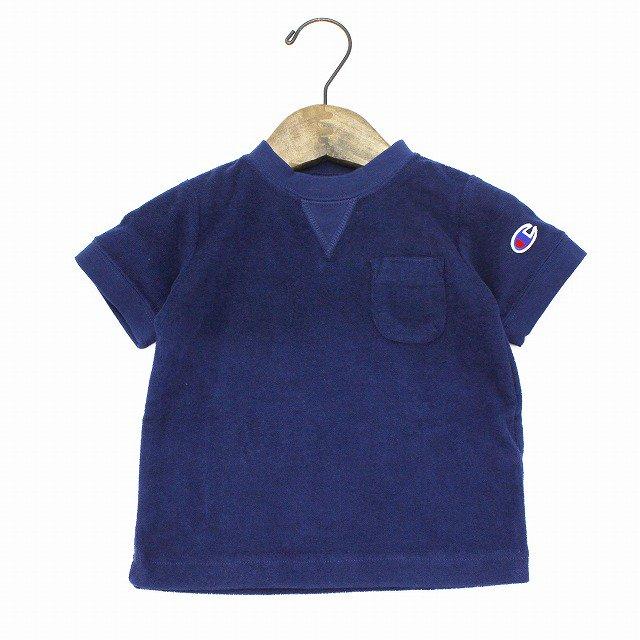 【Champion】 パイルポケットTシャツ (ネイビー) 90-140cm