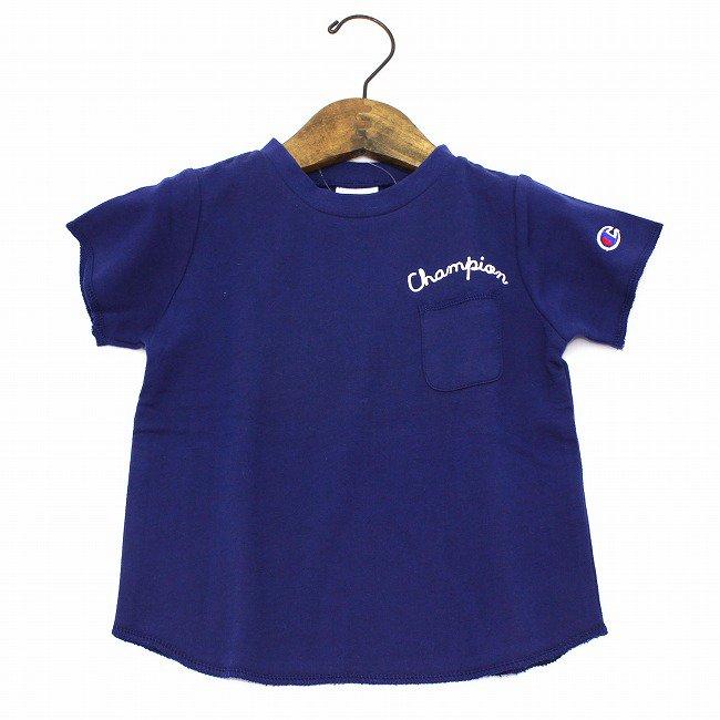 【Champion】 インレイン裏毛Tシャツ (ネイビー) 90-140cm