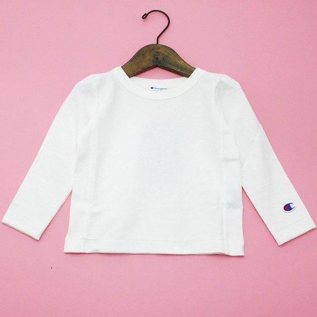 【Champion】 リバースウィーブロングTシャツ (オフホワイト) 90-140cm
