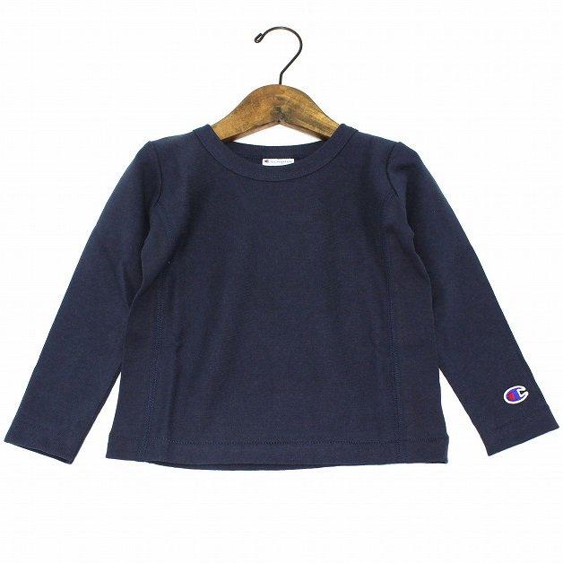 【Champion】 リバースウィーブロングTシャツ (ネイビー) 90-140cm