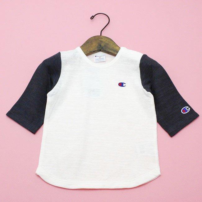 【Champion】 スラブ天竺ロングTシャツ (チャコール) 70-90cm