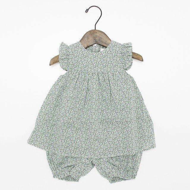 【tappet】袖フリル小花柄ロンパース|グリーン|70-80cm