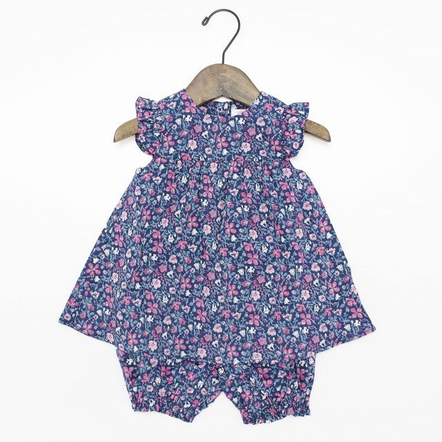【tappet】袖フリル花柄ロンパース|ネイビー|70-80cm