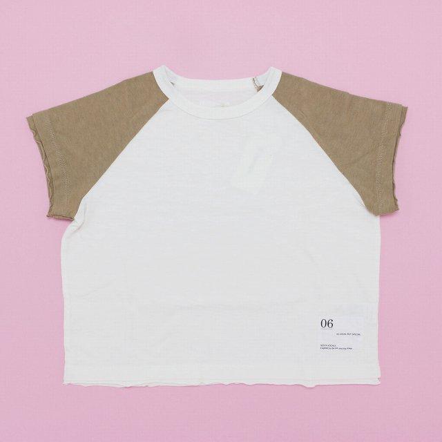 【6°vocale】ラグランドロップTシャツ|ホワイト&キャメル