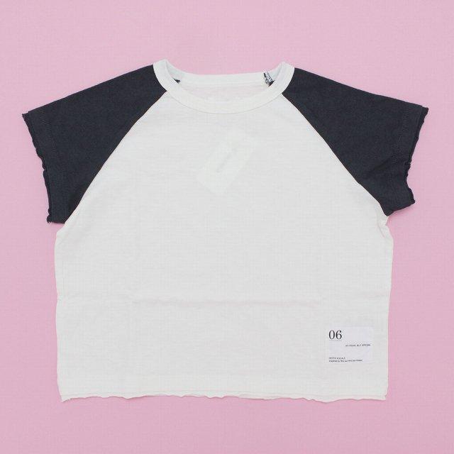 【6°vocale】ラグランドロップTシャツ|ホワイト&チャコール