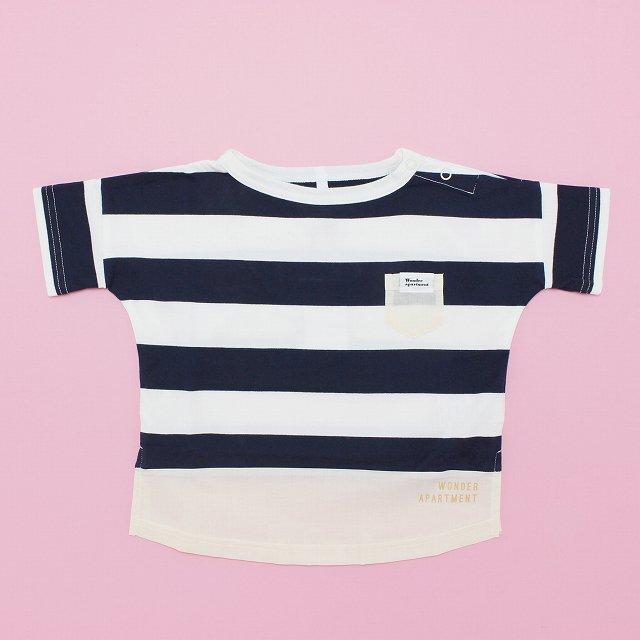 【WonderApartment】ボーダーワイドTシャツ|コン×オフ|80-140cm