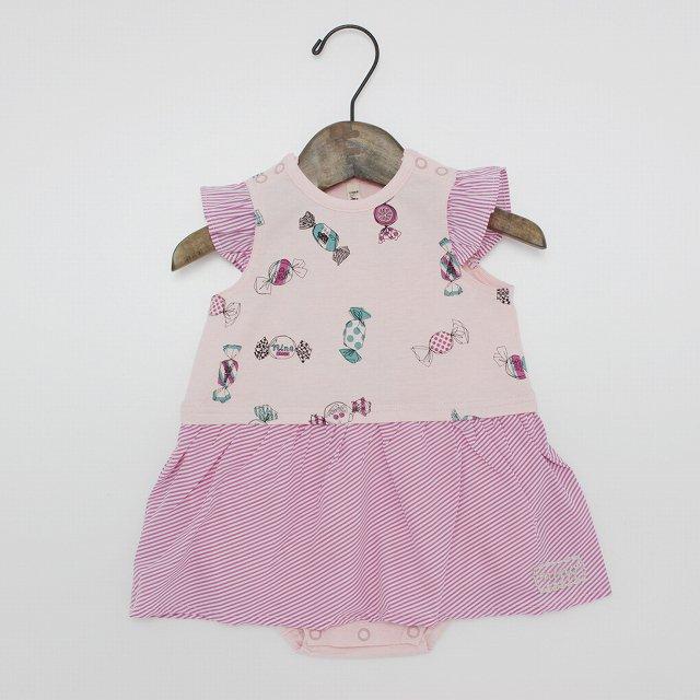 【nino】キャンディプリントロンパース|ピンク|70-80cm