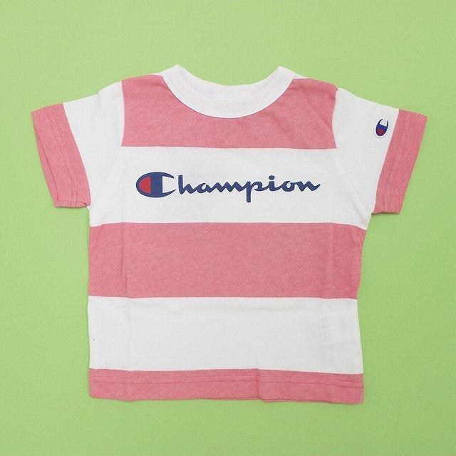 【Champion】ボーダーロゴTシャツ|ピンク|90-140cm