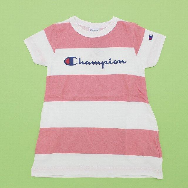 【Champion】ボーダーチュニック|ピンク|90-140cm