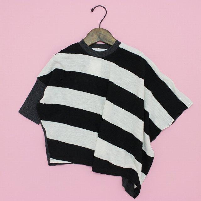 【nunuforme】ボーダーアシンメトリーTシャツ|ブラック×ホワイト|95-145cm