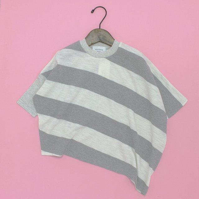 【nunuforme】ボーダーアシンメトリーTシャツ|グレー×ホワイト|95-145cm