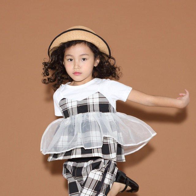 【maarook】天竺チェックビスチェTシャツ|シロ|80-140cm