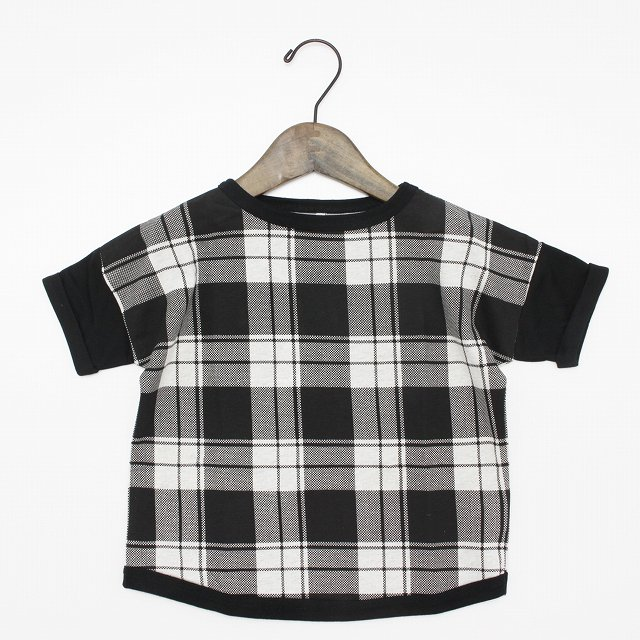 【maarook】天竺チェックワイドTシャツ|オートミール×クロ