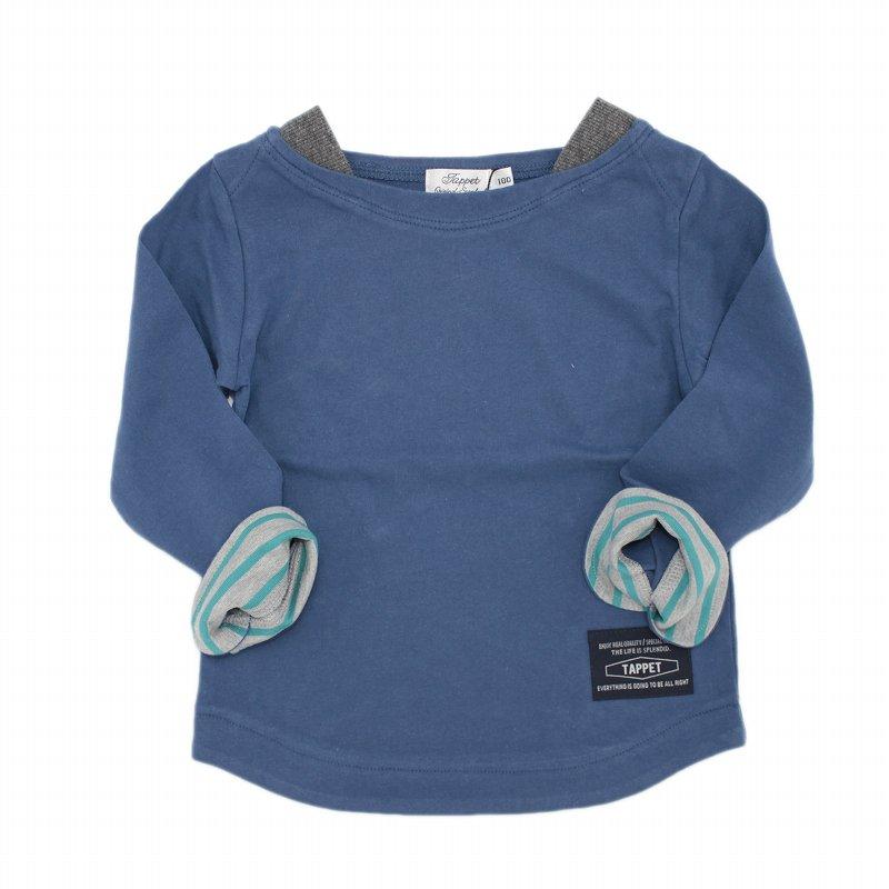 【tappet】ボートネック無地Tシャツ|ブルー|80-120cm
