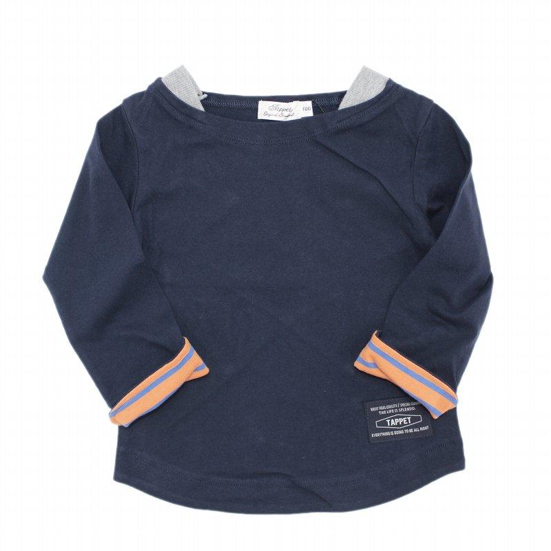 【tappet】ボートネック無地Tシャツ|ネイビー|80-110cm