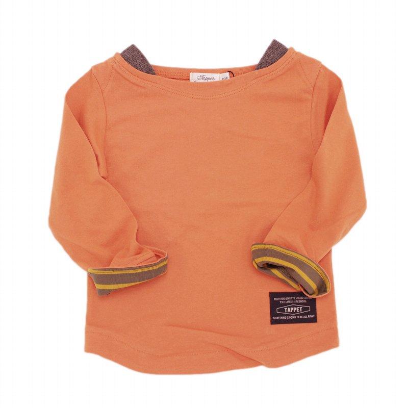 【tappet】ボートネック無地Tシャツ|オレンジ|80-120cm