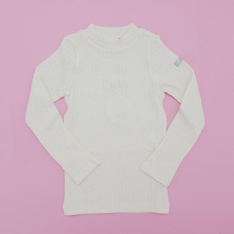 【nino】ケーブルニットTシャツ|オフホワイト|80-150cm
