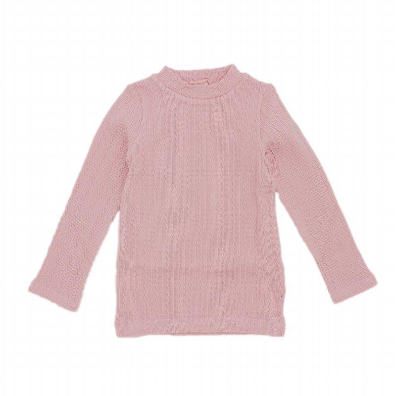 【nino】ケーブルニットTシャツ|ピンク|80-150cm