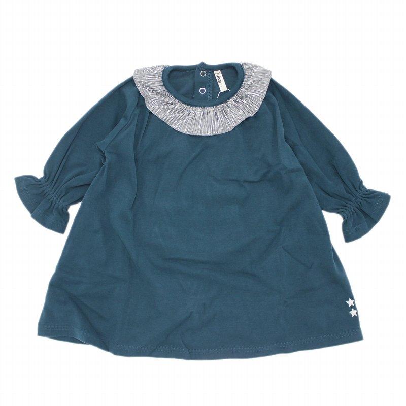 【nino】衿フリルワンピース|ブルー|90-150cm