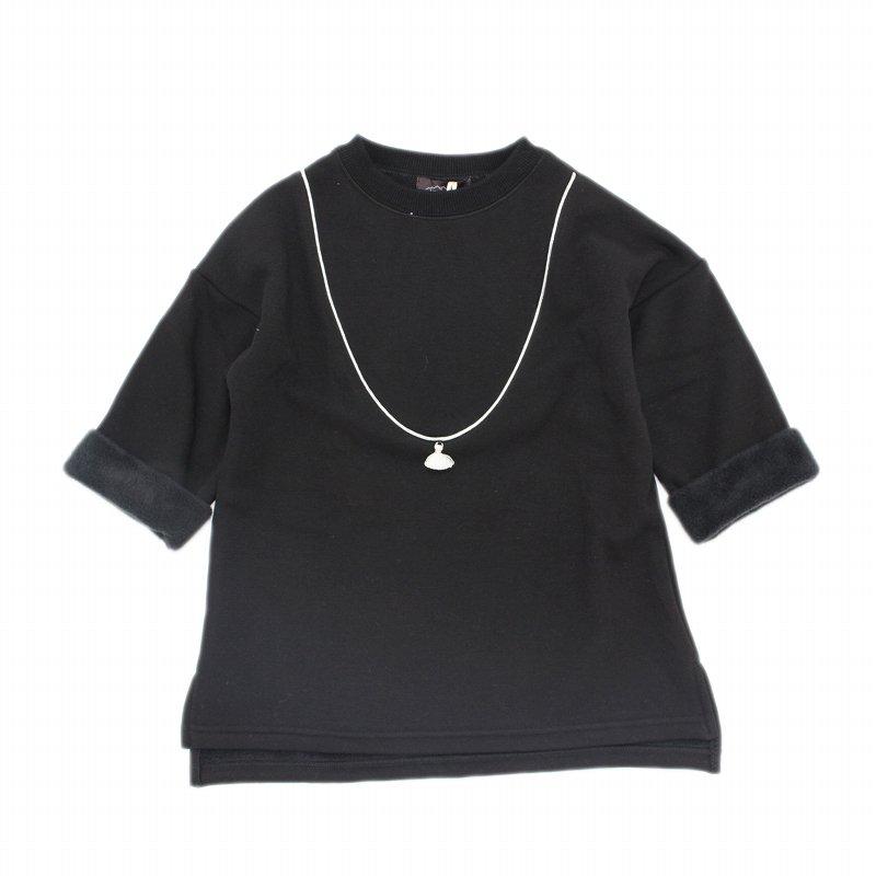 【UNICA】タッセルネックレスチュニック|ブラック|90-150cm