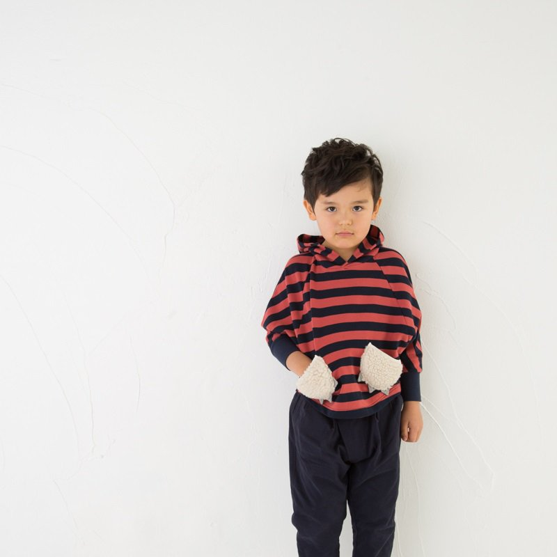 【Wonder apartment】ボーダーボアポケットトレーナー|アカ|80-140cm