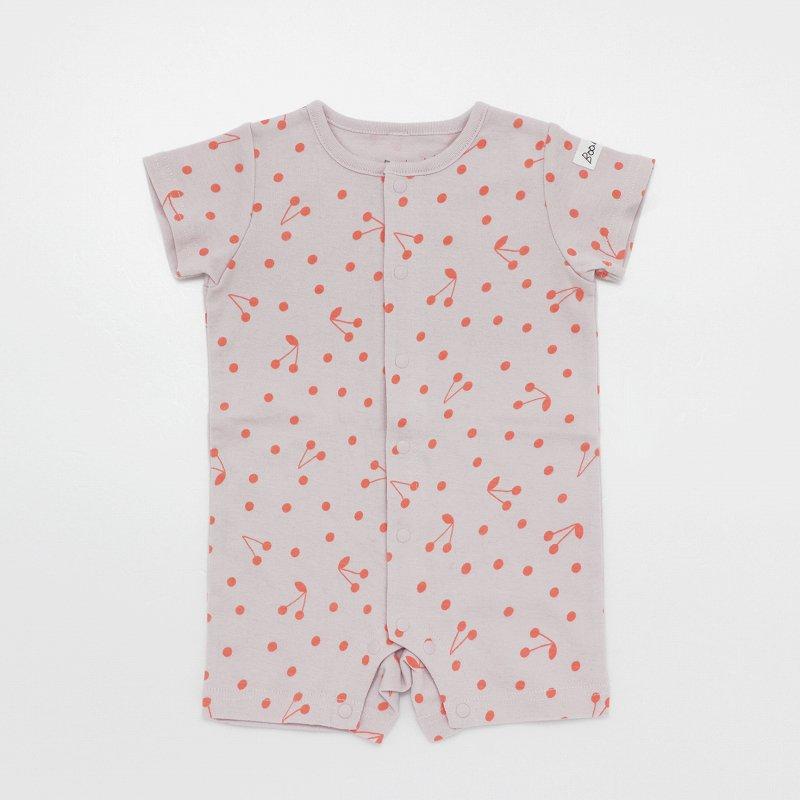 【Baabook】天竺チェリードットカバーオール|ピンク|60-70cm