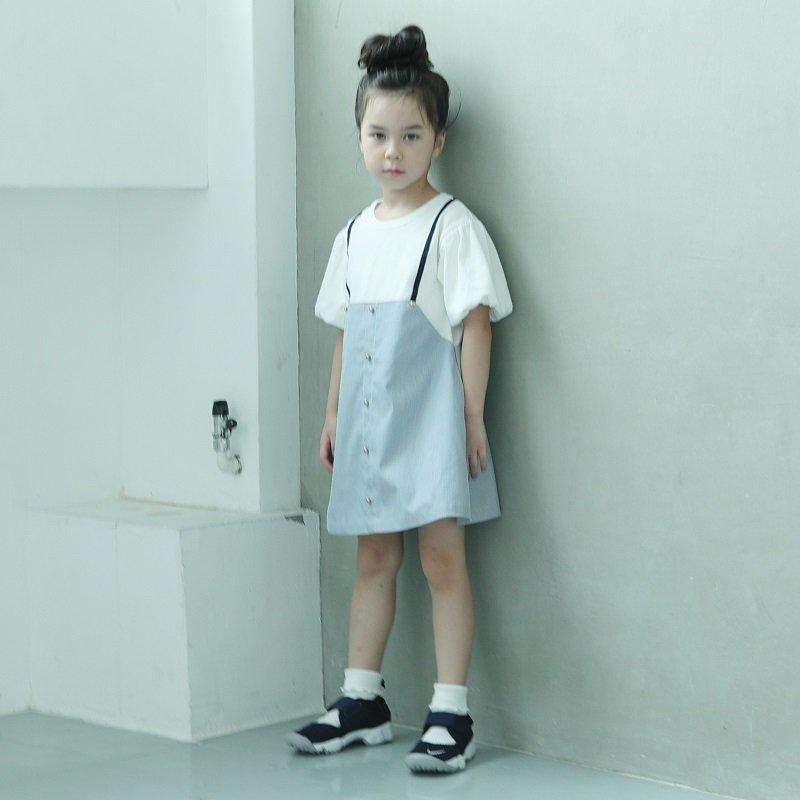 【maarook】コードレンサロペット風ワンピース|シロ|80-140cm