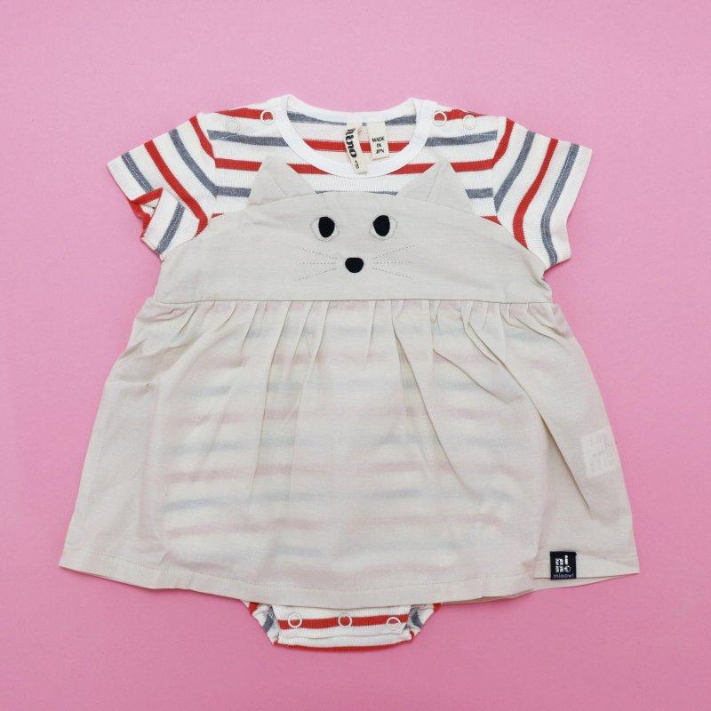 【nino】ねこロンパース|ピンク|70-80cm