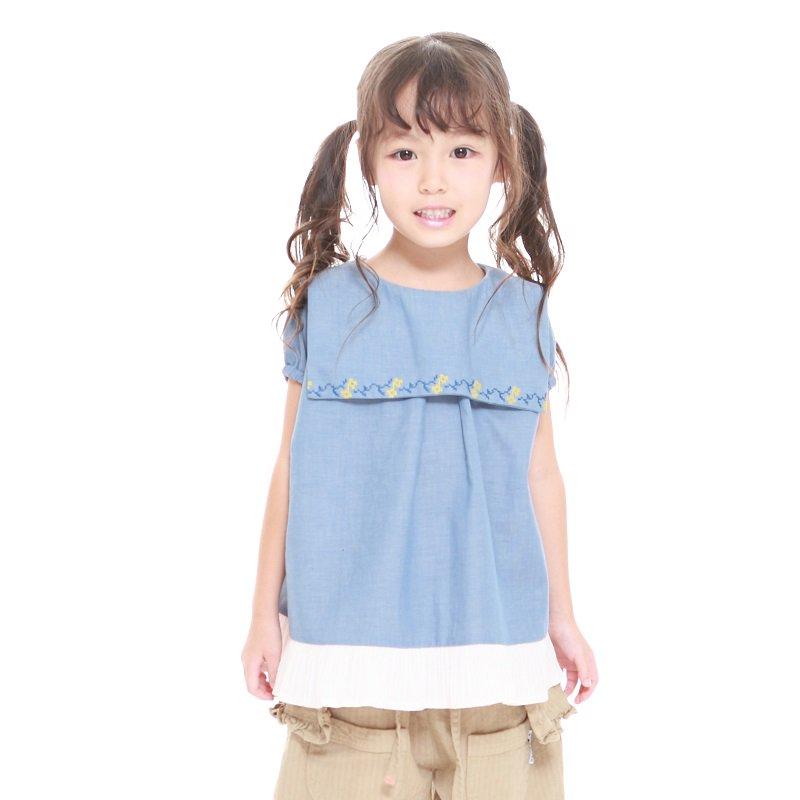 【MoL】フリルセーラーシャツ|ブルー|90-150cm