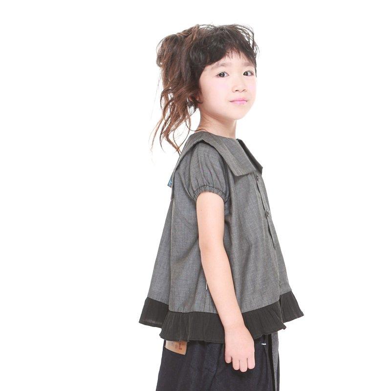 【MoL】フリルセーラーシャツ|ブラック|90-150cm