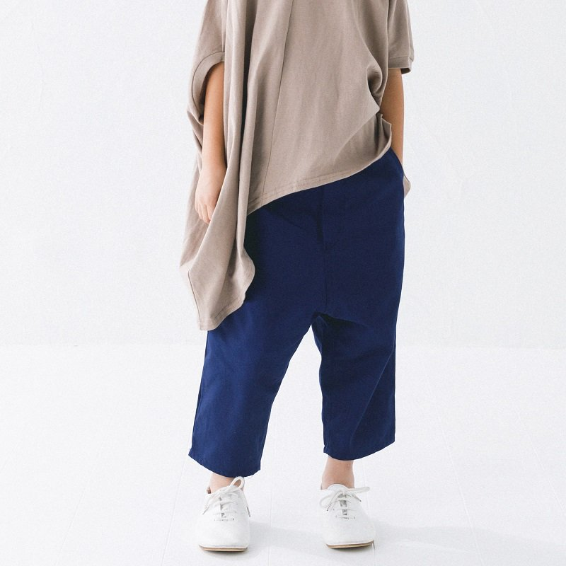 【nunuforme】オックスバギーパンツ|ネイビー|95-145cm