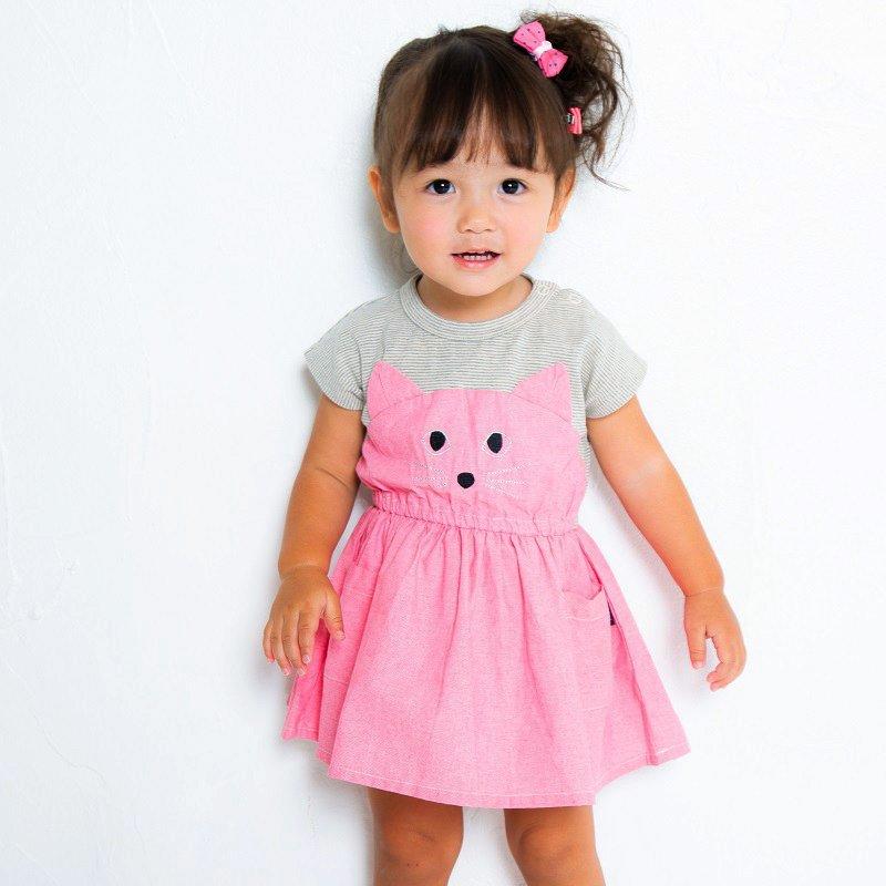 【nino】ねこ顔ワンピース|ピンク|80-120cm