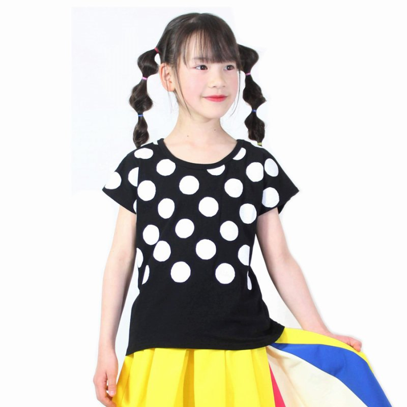 【UNICA】ドットTシャツ|ブラック|100-140cm