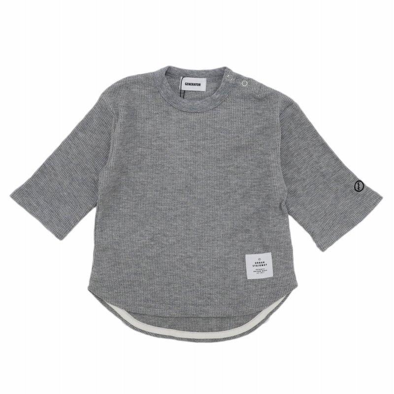 【GENETATOR】7分丈ワッフルTシャツ|杢グレー|90-160cm