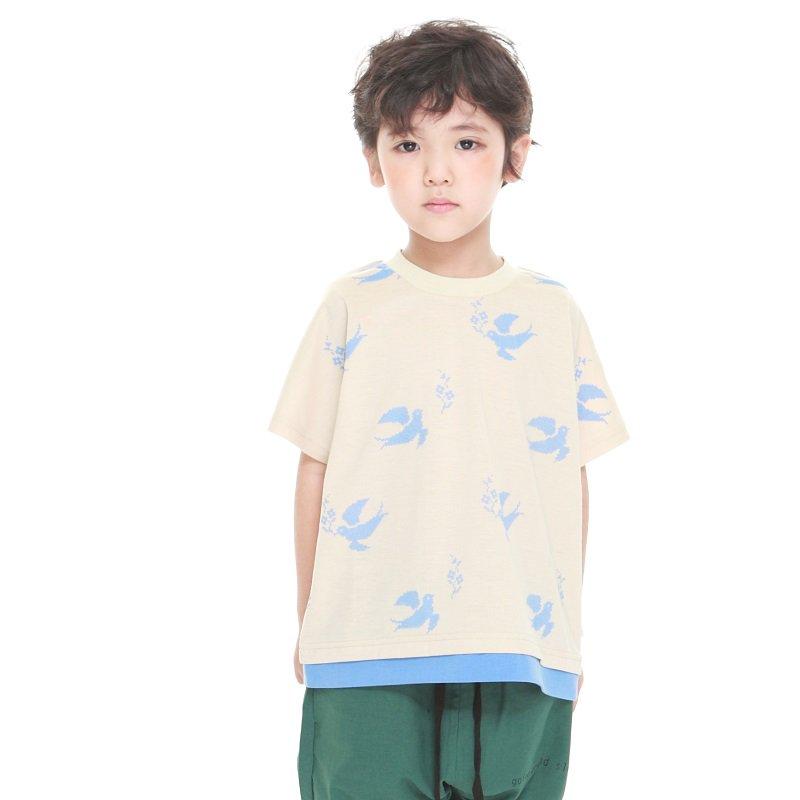 【MoL】ステッチバードTシャツ|ベージュ|90-150cm