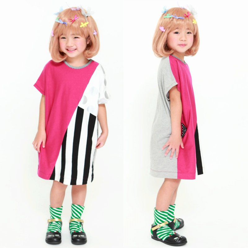 【UNICA】dot&stripeワンピース|パープル|100-140cm