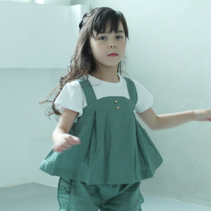 【maarook】ポプリンキャミ風Tシャツ|グリーン|80-140cm