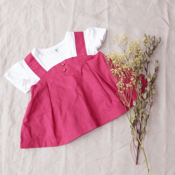 【maarook】ポプリンキャミ風Tシャツ|ピンク|80-140cm