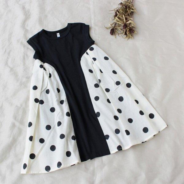 【maarook】ドット切り替えワンピース|クロ|80-140cm