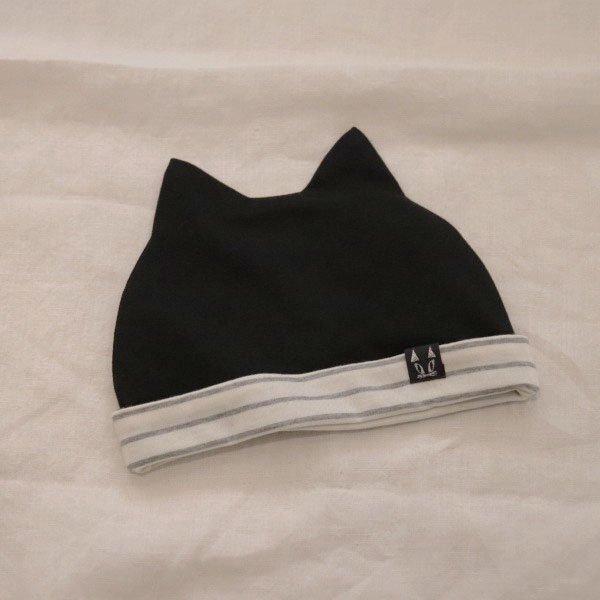 【nino】ねこ耳ベビーキャップ|ブラック